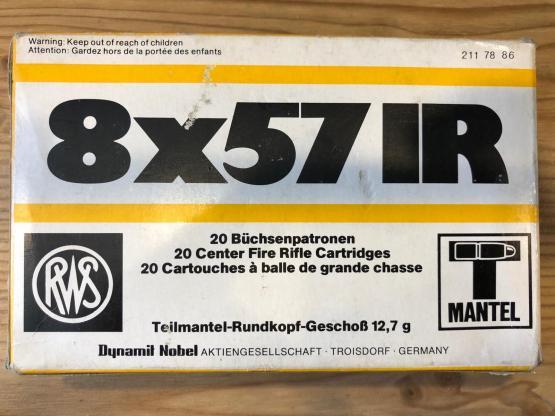RWS 8X57 JR Teilmantel Rundkopf Geschoss 12,7g - letzte Schachtel!